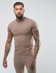 Intense Muscle T-Shirt In Stone With Contrast Panel - Stone