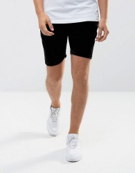 Intense Skinny Shorts In Black Velour - Black