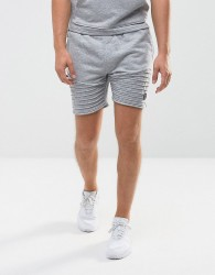 Intense Skinny Shorts In Grey With Biker Detail - Grey