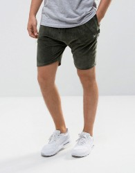 Intense Skinny Shorts In Khaki Velour - Green