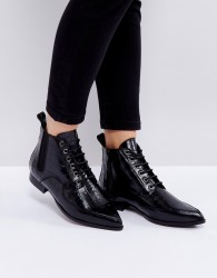 Intentionally Blank Brad Black Lace Up Ankle Boots - Black