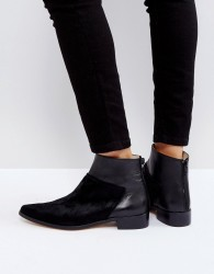 Intentionally Blank Dallas Black Leather Flat Ankle Boots - Black