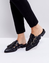 Intentionally Blank Parliament Black Buckle Flat Mules - Black