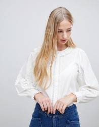 Intropia broderie blouse with ruffle collar - White