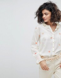 Intropia Buttondown Blouse with Embroidered Bouquets - Cream