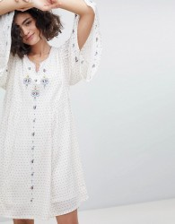 Intropia Embroidered Tunic Dress with Fluted Sleeve - Cream