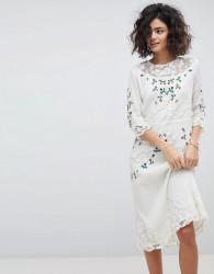 Intropia Hand Embroidered Lace Midi Dress - Cream