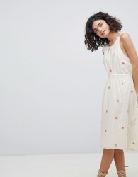 Intropia Plunge Back Dress with Embroidered Bouquets - Cream