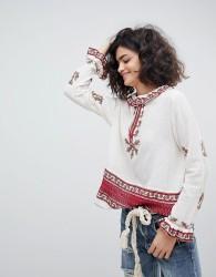 Intropia Ruffle Collar Embroidered Blouse - Cream