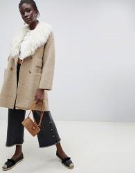 Intropia teddy wool coat with 70's fur collar - Beige