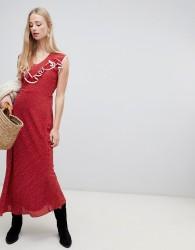 Intropia western maxi dress in spot print - Red