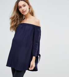 Isabella Oliver Bardot Top With Bow Sleeve Detail - Navy