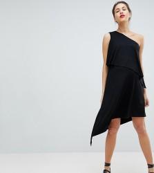 Isabella Oliver Drapey One Shoulder Dress With High Low Hem - Black