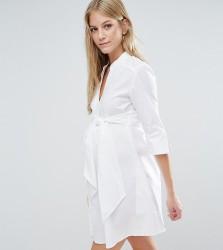 Isabella Oliver Longline Shirt Dress With Tie Waist - White
