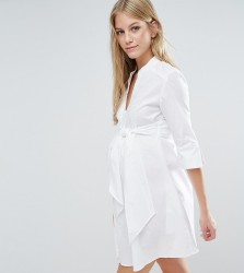 Isabella Oliver Longline Shirt Dress With Tie Waist - White