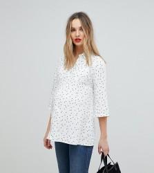 Isabella Oliver Pocket Shirt In All Over Star Print - White