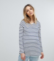 Isabella Oliver Relaxed Stripe Long Sleeve T-Shirt - Navy