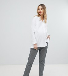 Isabella Oliver Stretch Straight Leg Trousers In Stripe - Blue