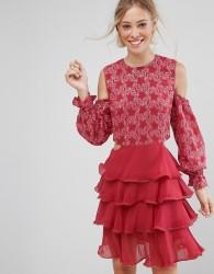 Isla Allegro Lace and Ruffles Dress - Pink