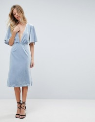 Isla Insurgency Deep V-Neck Midi Dress - Blue