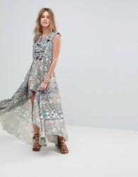 Island Stories Dip Hem Ruffle Frill Beach Dress - Multi