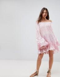 Island Stories Oversized Off Shoulder Drop Waist Ruffle Beach Dress - Multi