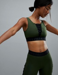 Ivy Park Active Lace Up Bra In Khaki - Green