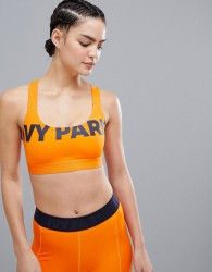 Ivy Park Active Logo Front Bra In Orange - Orange