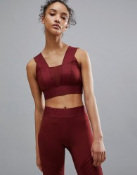 Ivy Park Active Logo Taped Bra In Burgundy - Red