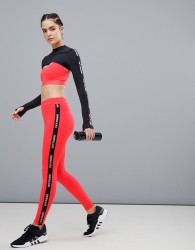 Ivy Park Active Logo Taped Side Stripe Leggings In Red - Red