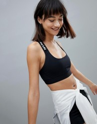 Ivy Park Active Logo Taped Stripe Bra In Black - Black
