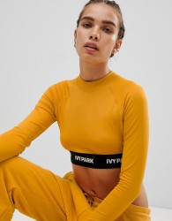 Ivy Park Active Long Sleeve Crop Top In Yellow - Yellow