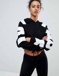 Ivy Park Cropped Hoodie With Logo Arm In Black - Black
