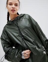 Ivy Park Lace Up Half Zip Rain Jacket In Khaki - Green