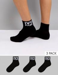 Ivy Park Logo Ankle Socks 3Pk In Black - Black