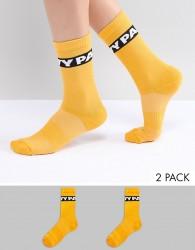 Ivy Park Logo Crew Socks 2Pk In Orange - Orange