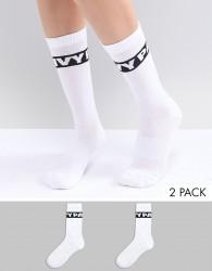 Ivy Park Logo Crew Socks 2Pk In White - White