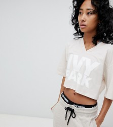 Ivy Park Logo Cropped T-Shirt In Oatmeal - Beige