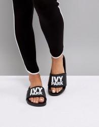 Ivy Park Logo Slider Sandals In Black - Black