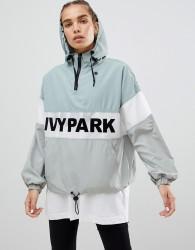 Ivy Park Sheer Panel Flocked Jacket In Mint - Blue