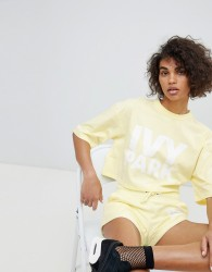 Ivy Park Short Sleeve Crop Logo Tee In Yellow - Yellow