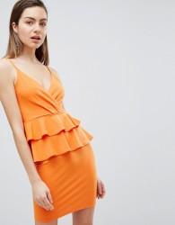 Ivyrevel Cami Mini Dress With Double Ruffle Peplum - Orange