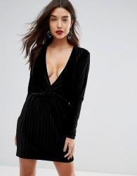 Ivyrevel Deep V Pleated Velvet Mini Dress - Black