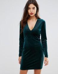 Ivyrevel Deep V Pleated Velvet Mini Dress - Green