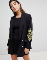 Ivyrevel Double Breasted Blazer with Embroidery at Sleeves - Black