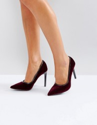 Ivyrevel Heeled Velvet Pointed Court Shoe With PU Trim - Red