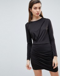Ivyrevel Long Sleeved Jersey Dress with Ruched Detail - Black