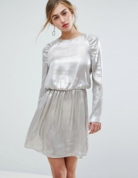Ivyrevel Long Sleeved Ruched Shoulder Mini Dress - Silver