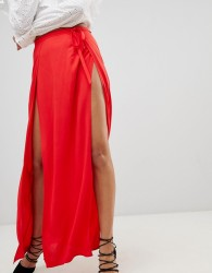 Ivyrevel Maxi Skirt with Double Thigh Splits - Red