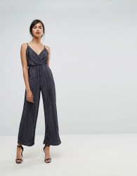 Ivyrevel Metallic Pleated Strappy Wide Leg Jumpsuit - Navy